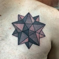 Gorgeous colored star shaped geometrical tattoo on chest