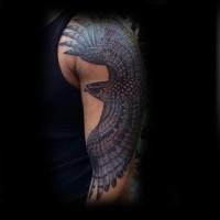 meraviglioso disegno colorato aquila volante dettagliato tatuaggio su braccio
