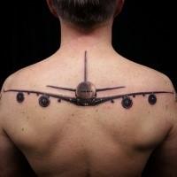 Gorgeous lifelike colored upper back tattoo of big plane