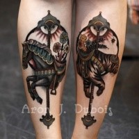 Gorgeous looking colored arm tattoo of horse and tiger figures