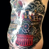 Gorgeous looking colored large side tattoo of old steam train