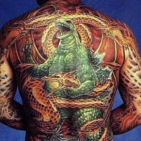 Gorgeous painted very detailed multicolored evil Godzilla with dragon tattoo on whole body