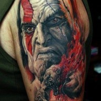 Gorgeous very detailed tribal style shoulder tattoo of evil gorilla and evil man