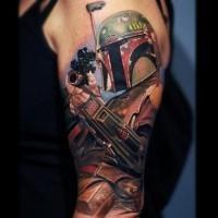 Tatuaje en el brazo, película famosa La guerra de las galaxias, dibujo 3D