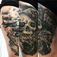 Gorgeous WW2 themed black ink military tattoo on thigh