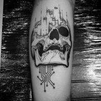 Graffiti style black ink leg tattoo of human skull with electronics