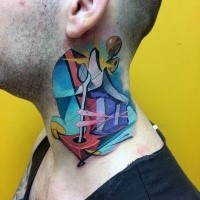 Graffiti style colored neck tattoo of anchor