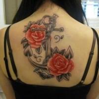 inchiostro grigio con rose schiena per ragazze tatuaggio