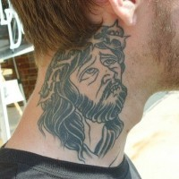 Gray ink old style religious Jesus Christ portrait weird design neck tattoo