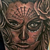 Gray ink santa muerte girl tattoo