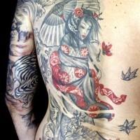 grigio rosso giapponese geisha tatuaggio sulla schiena di uomo