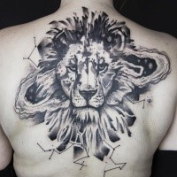 Gray washed black ink upper back tattoo of lion head with zodiac symbols