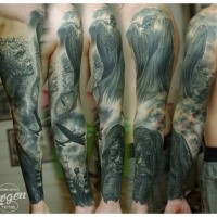Gray washed sleeve tattoo of angel statue with WW2 bomber plane