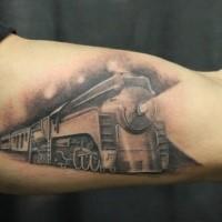 Tatuaggio del treno fantasy dipinto con accurato stile lavato grigio
