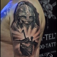 Gray washed style colored shoulder tattoo of medieval warrior with boat