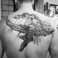 Gray washed style detailed upper back tattoo of flying Icarus