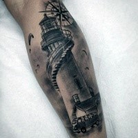 Gray washed style interesting looking leg tattoo of lighthouse and small car