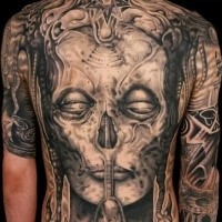 Gray washed style large whole back tattoo of demonic skull with star