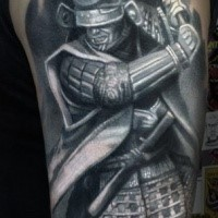 Gray washed style shoulder tattoo of samurai warrior