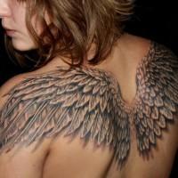 Great angel wings tattoo for women