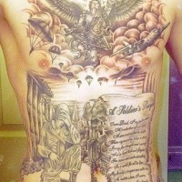 Great army memorial tattoo on whole back