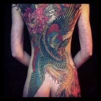 Tatuaggio incantevole sulla schiena l'uccello fantastico by Alexander Grim
