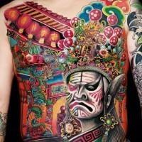 grande meraviglioso tatuaggio su tutta la schiena in stile cinese