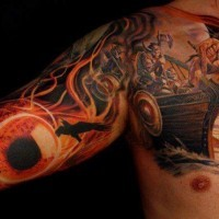 Great beautiful vikings boat tattoo on shoulder and arm