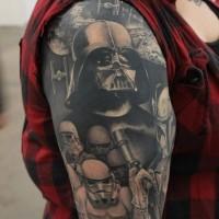 Tatuaje en el brazo, Darth Vader y stormtroopers increíbles volumétricos