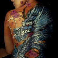 Great blue dragon and japanese cherry tattoo for girls