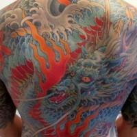 Great blue dragon on back for men