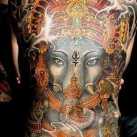 Great colorful ganesha on whole back