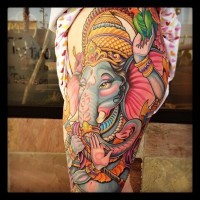 Great colorful indian ganesha on thigh