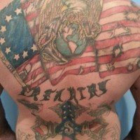 Great colorful patriotic tattoo on back for men
