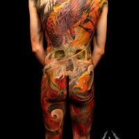 Great colorful phoenix and skull tattoo on whole body by Shige