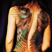Great colorful wings tattoo on whole back
