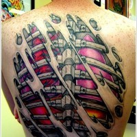 Great coloured armor and bones under skin rip tattoo on back