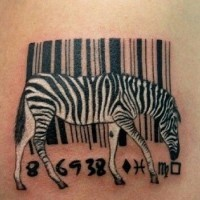 Great combined little black and white zebra with bar code tattoo on shoulder