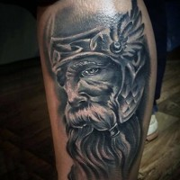 Great designed very detailed old warrior portrait tattoo on leg