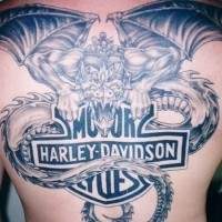 Great dragon with harley davidson logo tattoo on back