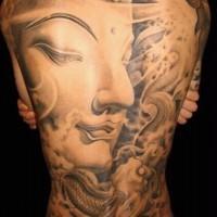 grande faccia di buddha tatuaggio pieno di schiena