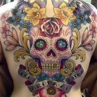 Tatuaggio grande colorato su tutta la schiena il teschio con i fiori