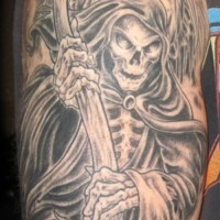 Great grim reaper with scythe tattoo on shoulder