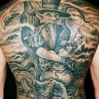 Great irish leprechaun tattoo on whole back