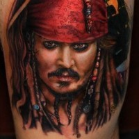 Great jack sparrow portrait tattoo