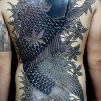Great japanese koi fish tattoo on back for men