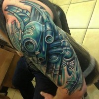 Great mechanisms tattoo on half sleeve