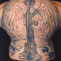 Great military memorial tattoo on whole back