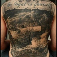 Great nautical tattoo on whole back