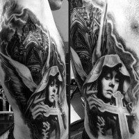 Great painted and detailed black and white side tattoo of antic cathedral with angel and cross